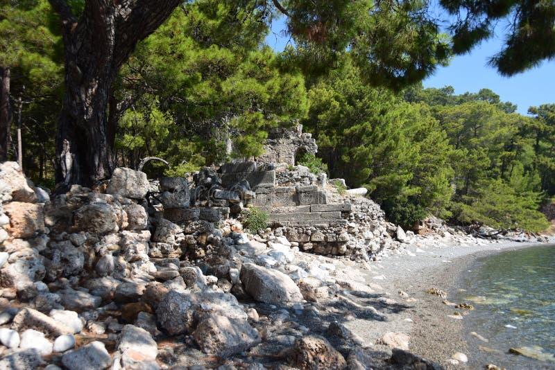 Ruins of antic port Phaselis, Turkey. Ruins of antic port Phaselis city-port in ancient Greece, Turkey, Anatolia stock image
