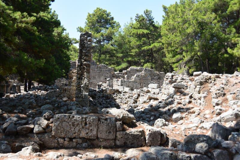 Ruins of antic port Phaselis, Turkey. Ruins of antic port Phaselis city-port in ancient Greece, Turkey, Anatolia royalty free stock images