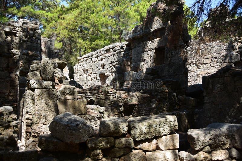 Ruins of antic port Phaselis, Turkey. Ruins of antic port Phaselis city-port in ancient Greece, Turkey, Anatolia stock photo