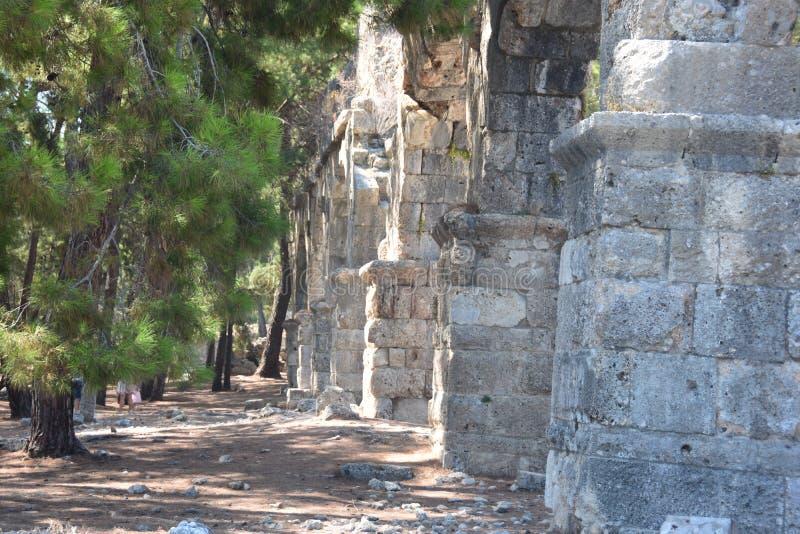 Ruins of antic port Phaselis, Turkey. Ruins of antic port Phaselis city-port in ancient Greece, Turkey, Anatolia stock photos