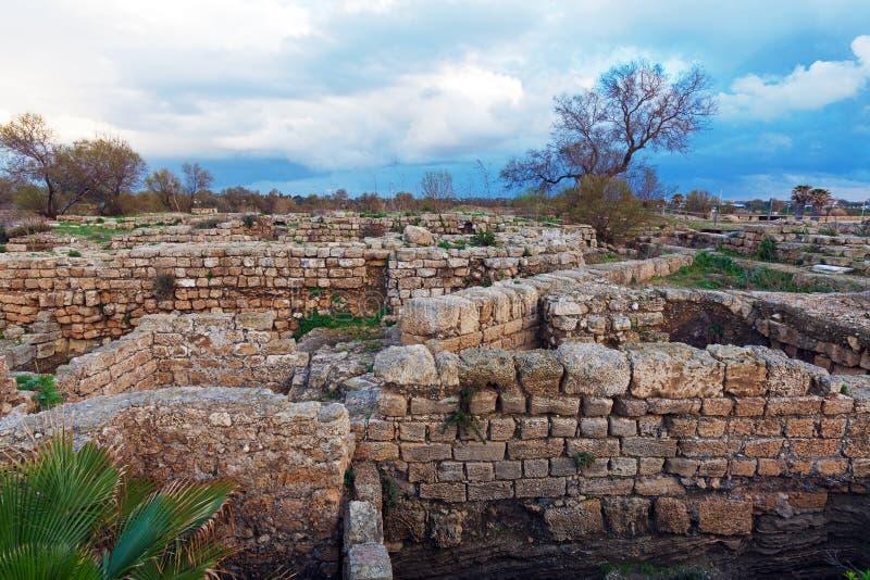 Ruins of Antique Harbor, Caesarea Maritima stock photos