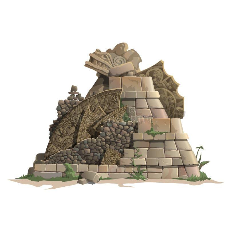 Ruins of antique Mayan pyramid, cartoon style royalty free illustration