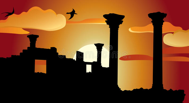 Download Ruins of antique temple stock vector. Image of cloud - 20630458