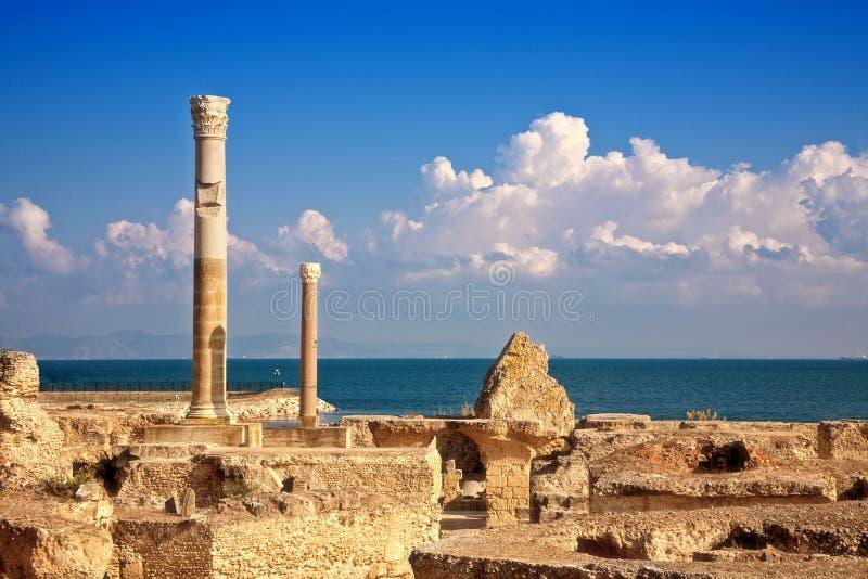 Ruins of Antonine Baths at Carthage, Tunisia royalty free stock photo