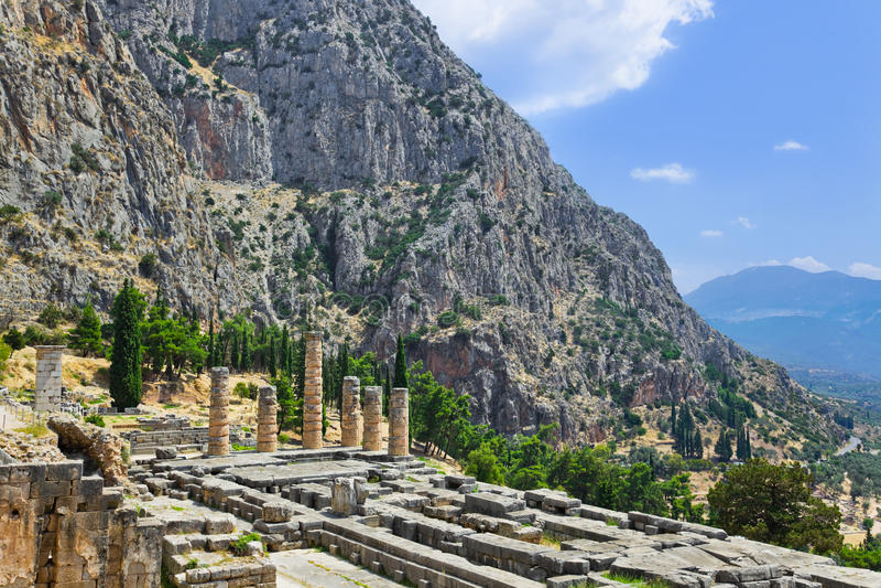 Download Ruins Of Apollo Temple In Delphi, Greece Stock Photo - Image of antique, exterior: 25087194