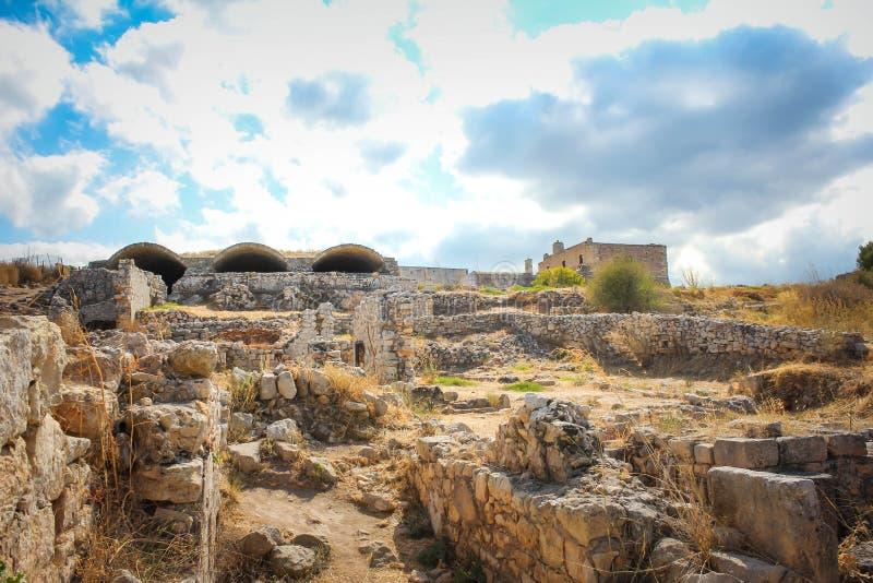 Ruins at Aptera, water storage, Crete stock photography