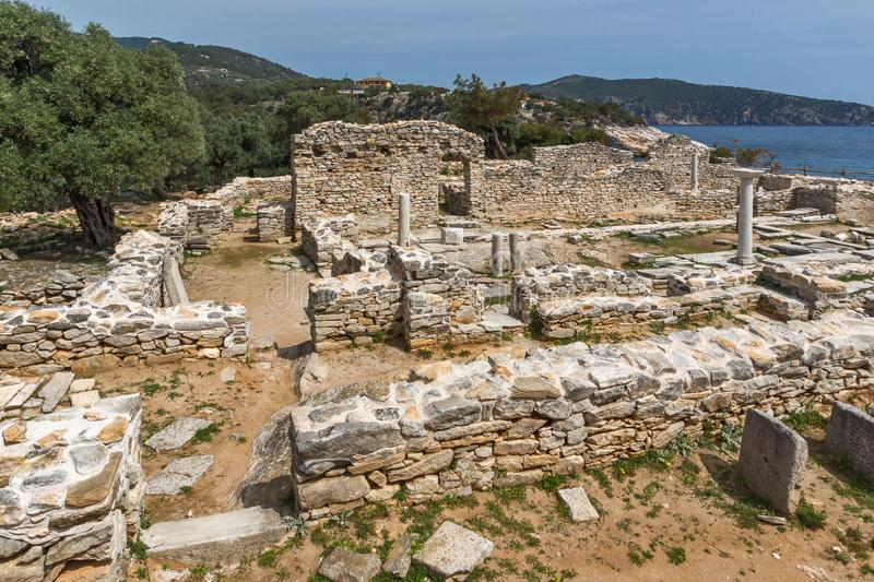 Ruins at Archaeological area of Aliki, Thassos island,  East Macedonia and Thrace, Greece. View of ruins at Archaeological area of Aliki, Thassos island,  East royalty free stock photography