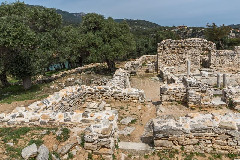 Ruins at Archaeological area of Aliki, Thassos island,  East Macedonia and Thrace, Greece. View of ruins at Archaeological area of Aliki, Thassos island,  East stock photography