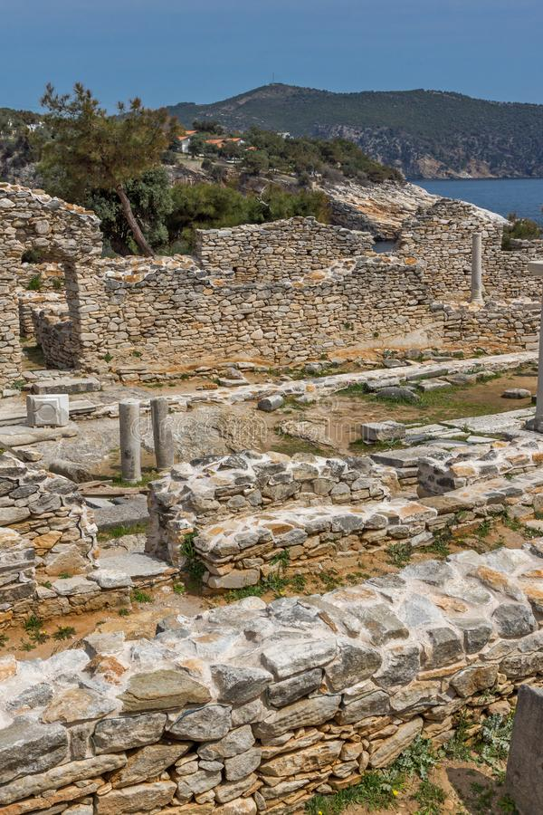 Ruins at Archaeological area of Aliki, Thassos island,  East Macedonia and Thrace, Greece. View of ruins at Archaeological area of Aliki, Thassos island,  East royalty free stock image