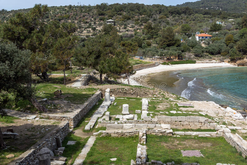 Ruins in Archaeological site of Aliki and small beach, Thassos island, Greece. Ruins in Archaeological site of Aliki and small beach, Thassos island, East royalty free stock image