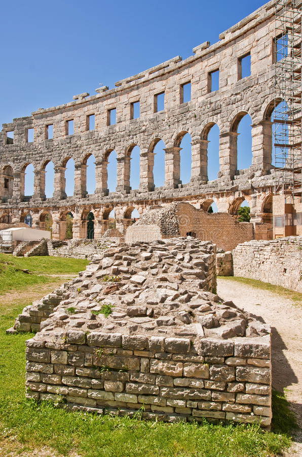 The ruins of the Arena in Pula, Croatia stock photography