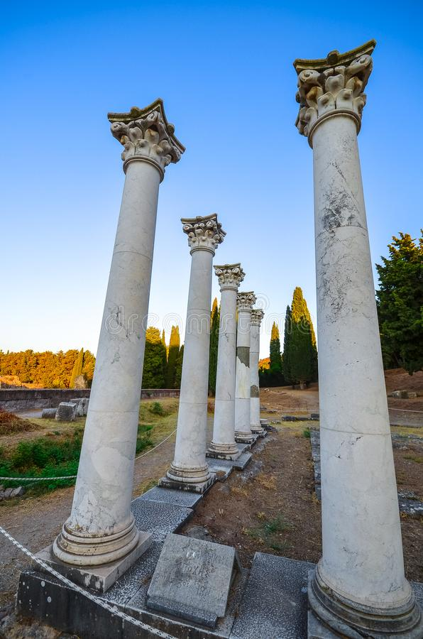 Ruins of asclepeion in Kos Greece, ancient greek temple dedicated to Asclepius. royalty free stock image