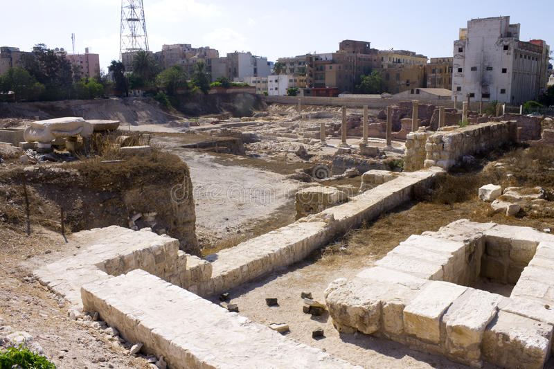 Ruins associated with the Alexandria roman theater royalty free stock photo
