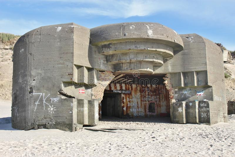 Ruins of an Atlantic Wall Bunker. On the beach of Lokken, Denmark. Ruins of an Atlantic Wall Bunker, built by the German Armed Forces in the second World War ( royalty free stock images