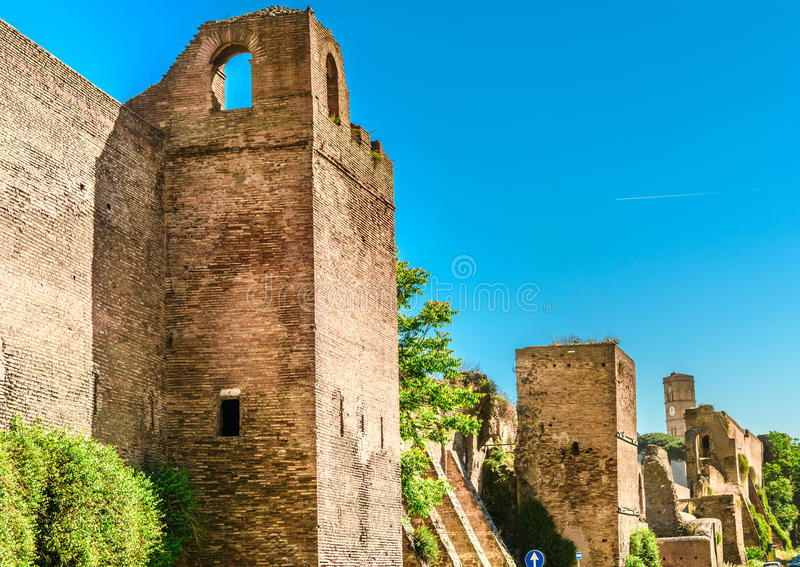 Ruins of the The Aurelian Walls, Rome,Italy royalty free stock images