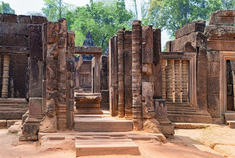 Ruins of Banteay Srei temple complex at Siem Reap Cambodia. Banteay Srei temple complex at Siem Reap, in Cambodia royalty free stock photography