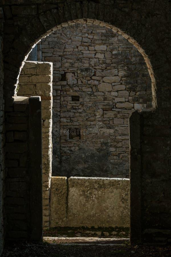 Ruins of Basilica of St. Mary on the Veliki Brijun island royalty free stock photography