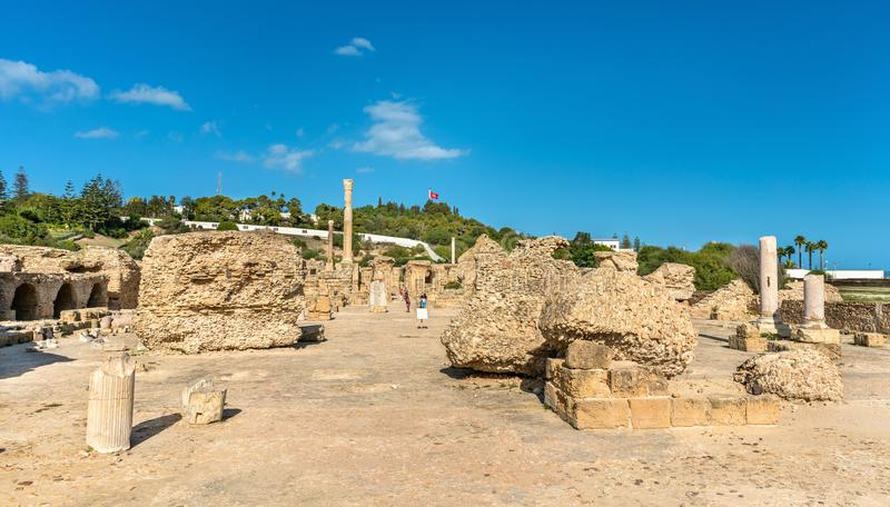 Ruins of the Baths of Antoninus in Carthage, Tunisia. stock photo
