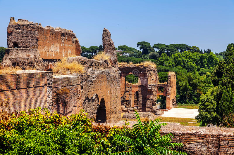The ruins of the Baths of Caracalla. (Thermae Antoninianae royalty free stock photo
