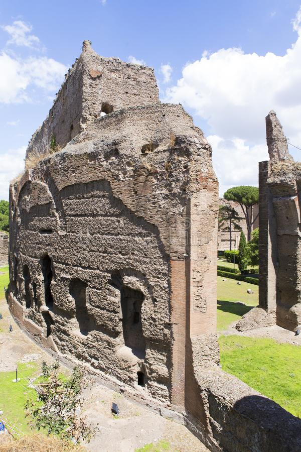Ruins from Baths of Caracalla. Entrance in the ruins from Baths of Caracalla in Rome, Italy stock photography