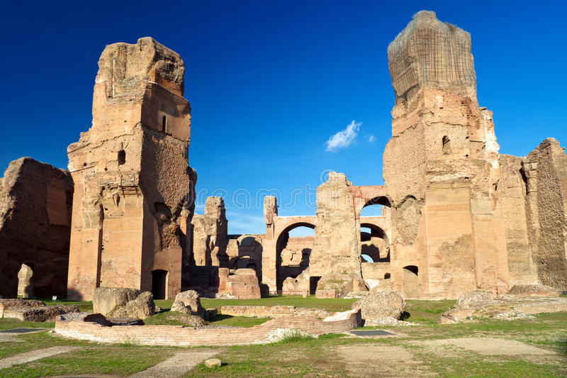 The ruins of the Baths of Caracalla in Rome. The ruins of the Baths of Caracalla, ancient roman public baths, in Rome, Italy royalty free stock photos