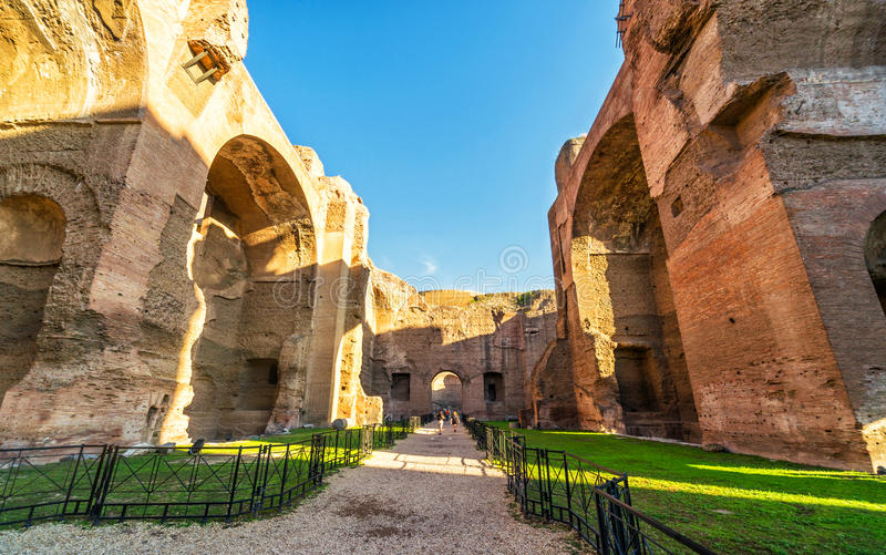 The ruins of the Baths of Caracalla in Rome. The ruins of the Baths of Caracalla, ancient roman public baths, in Rome, Italy royalty free stock image