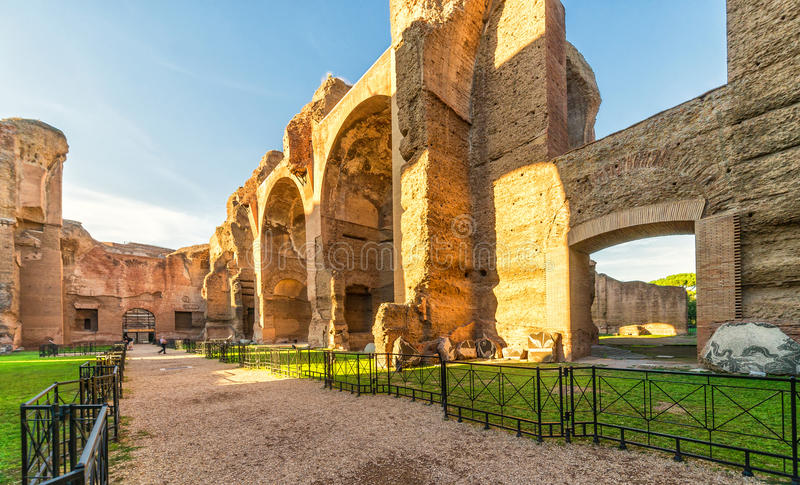 The ruins of the Baths of Caracalla in Rome. The ruins of the Baths of Caracalla, ancient roman public baths, in Rome, Italy royalty free stock photography