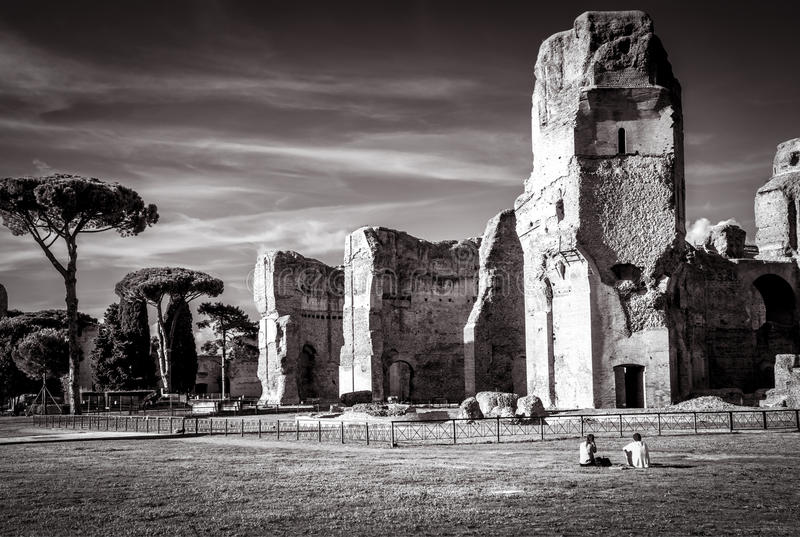 The ruins of the Baths of Caracalla, Rome. The ruins of the Baths of Caracalla, ancient roman public baths, in Rome, Italy stock photography