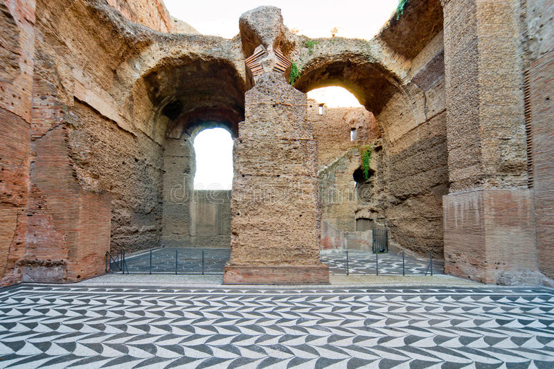 The ruins of the Baths of Caracalla in Rome, Italy. The ruins of the Baths of Caracalla, ancient roman public baths, in Rome, Italy stock images