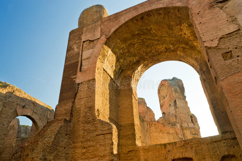 The ruins of the Baths of Caracalla in Rome, Italy. The ruins of the Baths of Caracalla, ancient roman public baths, in Rome, Italy royalty free stock photo