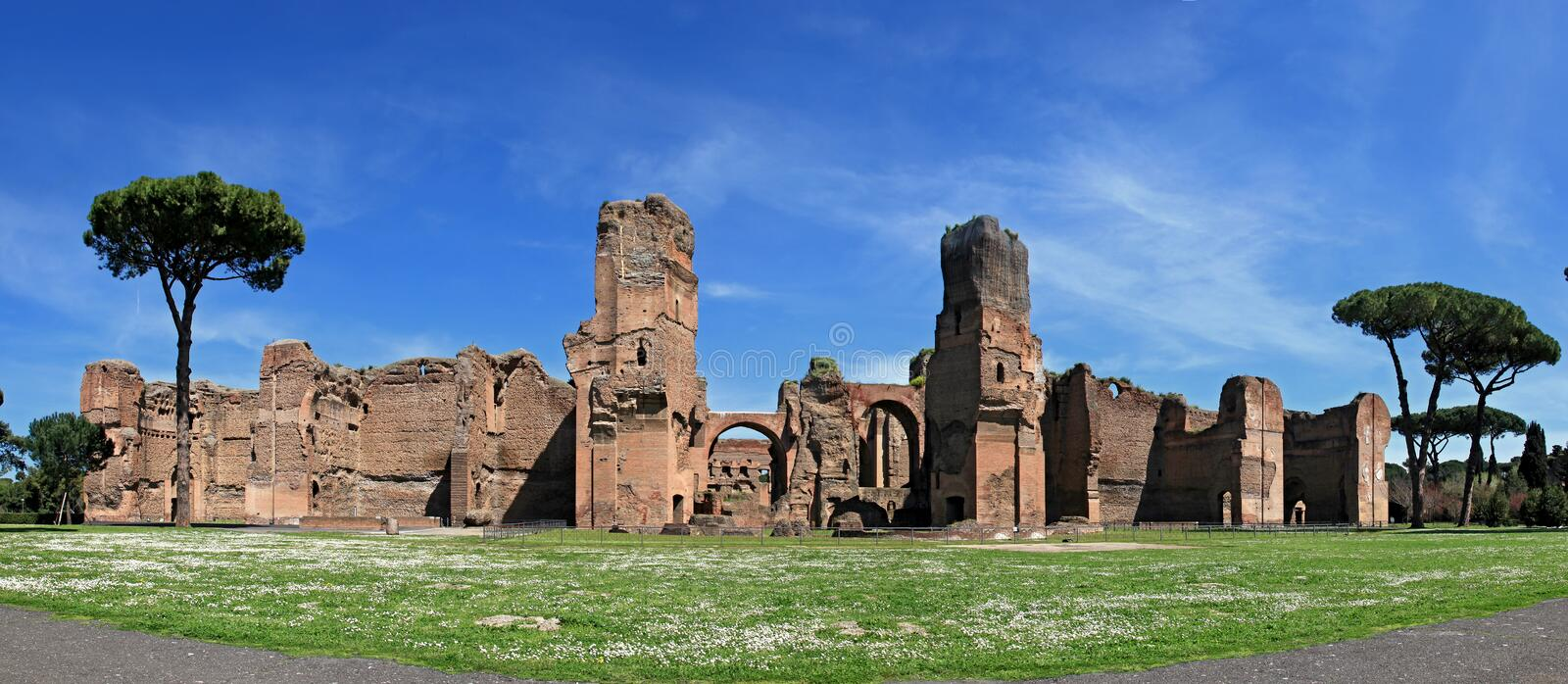 The ruins of the Baths of Caracalla in Rome. Italy royalty free stock image
