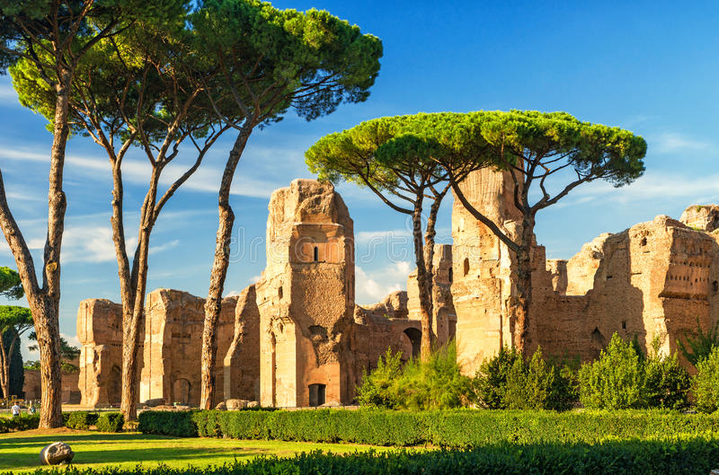 The ruins of the Baths of Caracalla in Rome, Italy. The ruins of the Baths of Caracalla, ancient roman public baths, in Rome, Italy royalty free stock images