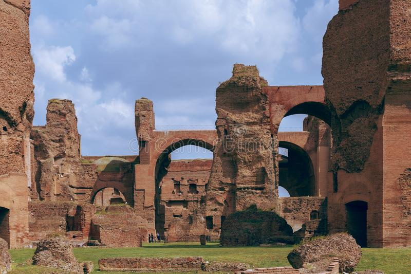 Ruins of the Baths of Caracalla Terme di Caracalla stock photo