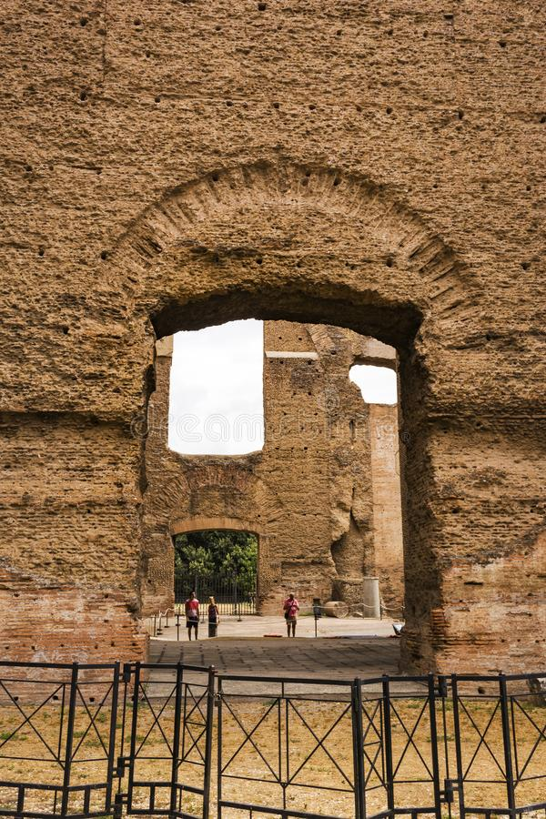 Ruins of the Baths of Caracalla - Terme di Caracalla stock images