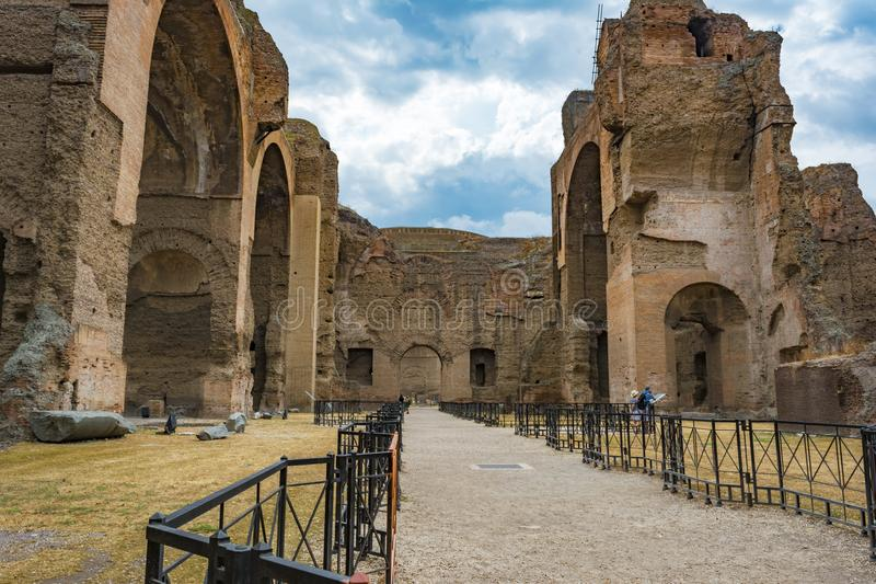 Ruins of the Baths of Caracalla - Terme di Caracalla stock image
