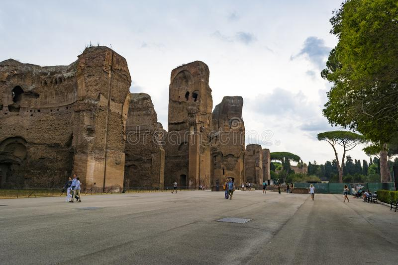 Ruins of the Baths of Caracalla - Terme di Caracalla royalty free stock photography