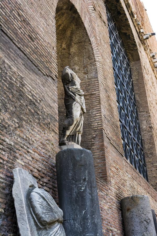 Ruins of the Baths of Diocletian, Rome, Italy. Diocletian`s baths is one of the main landmarks in Rome. royalty free stock image