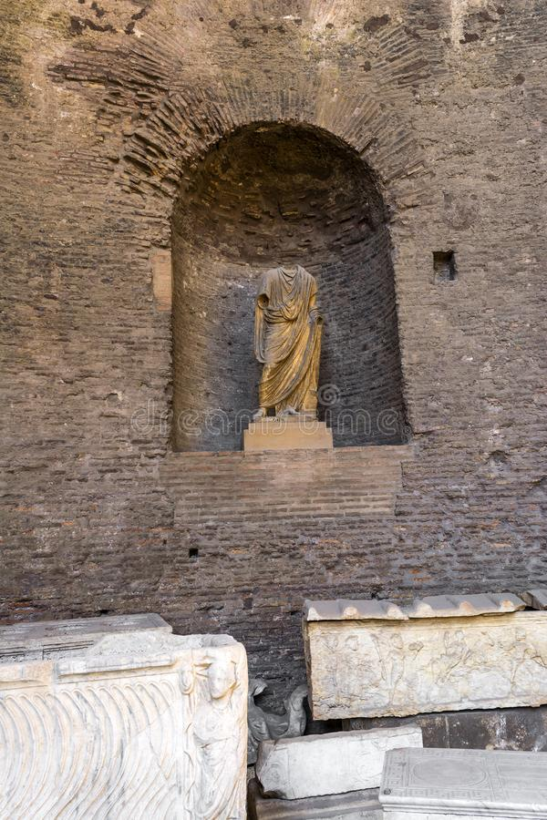 Ruins of the Baths of Diocletian, Rome, Italy. Diocletian`s baths is one of the main landmarks in Rome. stock images