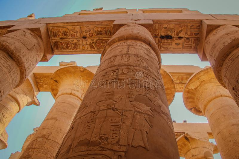 Ruins of the beautiful ancient temple in Luxor. Ruins of the central temple of Amun-Ra.  royalty free stock photography