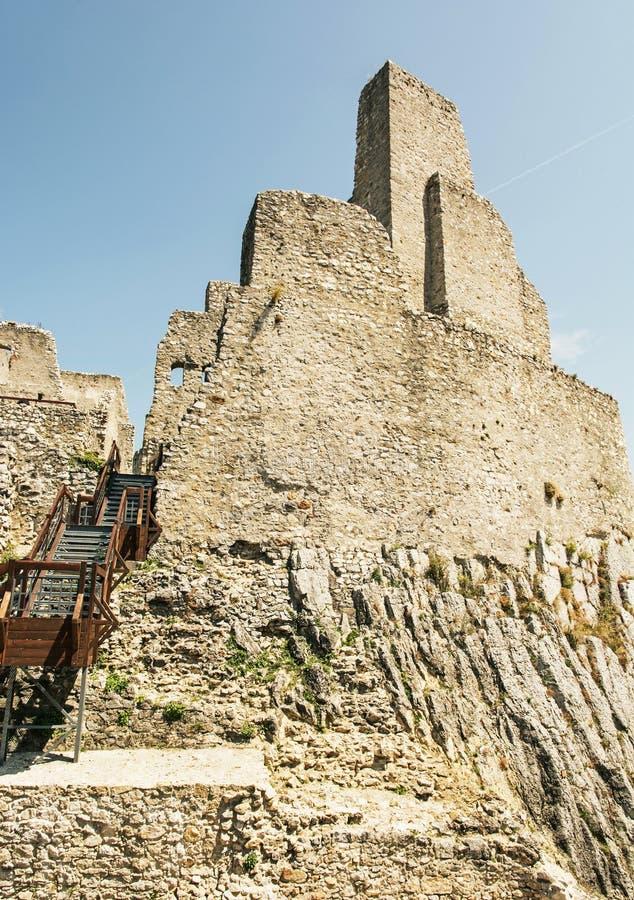 Ruins of Beckov castle, Slovak republic, travel destination, vertical composition royalty free stock photos
