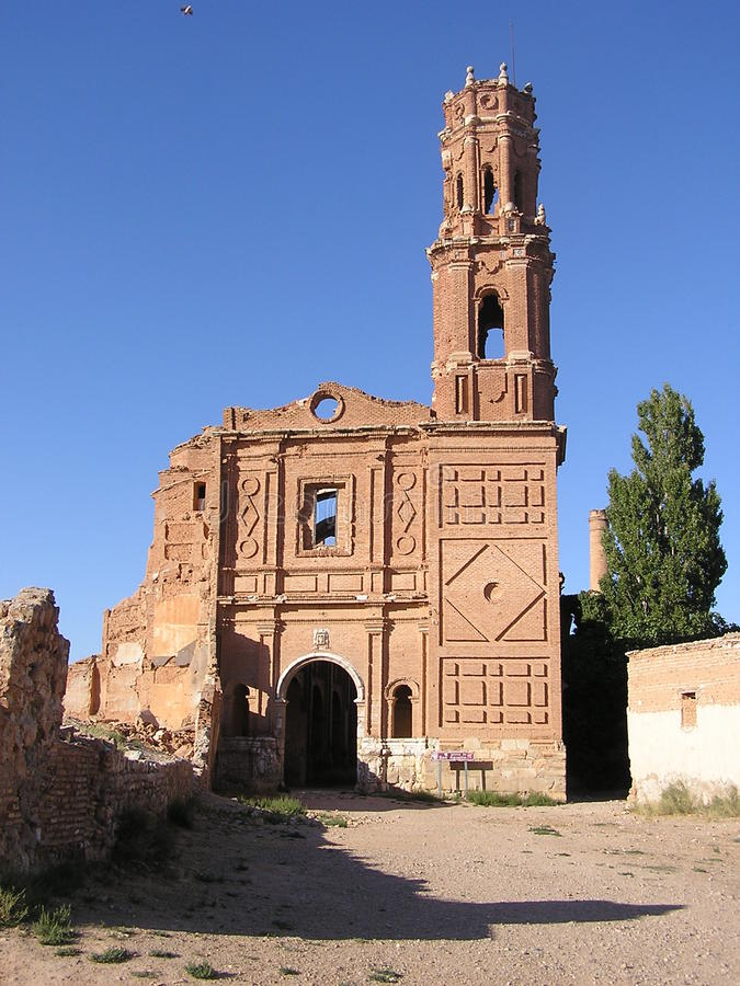 Ruins of Belchite stock photo