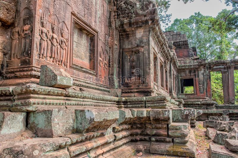 Ruins belonging to Angkor Wat in Siem Reap. Cambodia. Angkor Wat is a 12th century temple and a world famous UNESCO World Heritage site royalty free stock photography