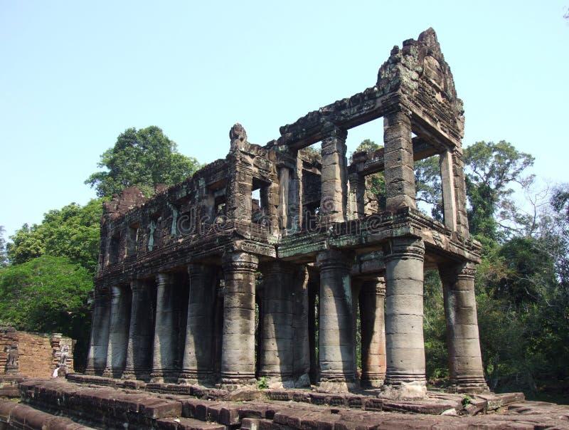 Ruins at the Preah Khan temple. Ruins of a big building at the Preah Khan temple, Siem Reap, Cambodia stock image