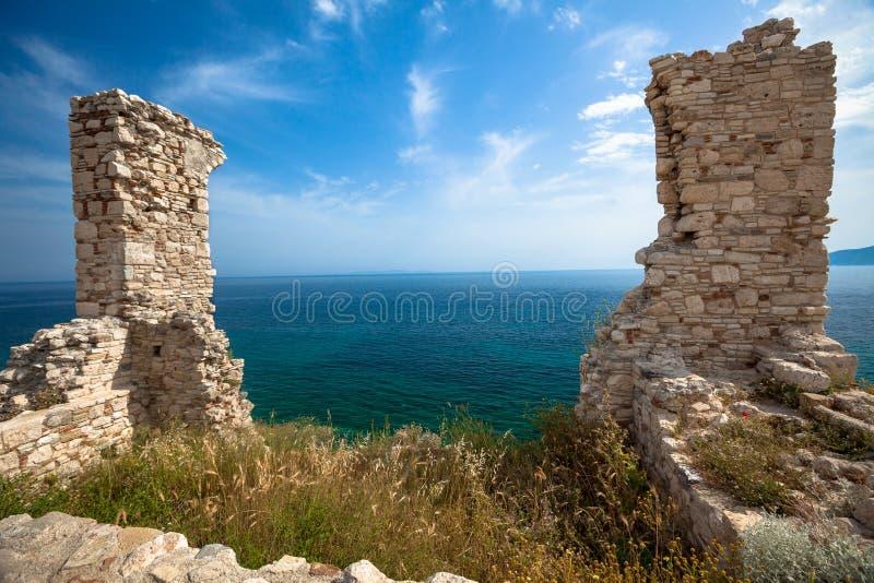 Ruins of brick gateway. To the sea stock photo