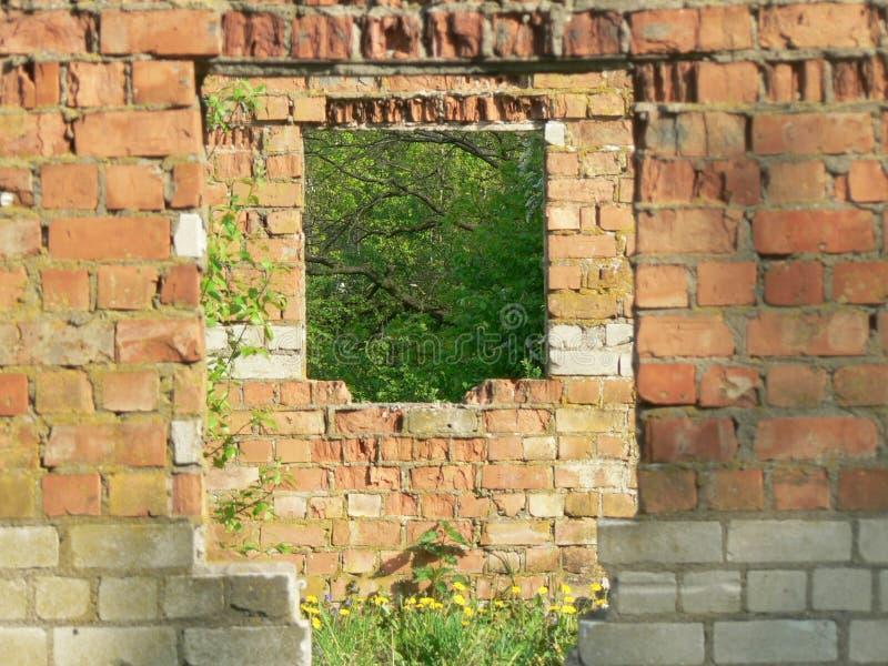 Ruins of brick/stone building stock photo