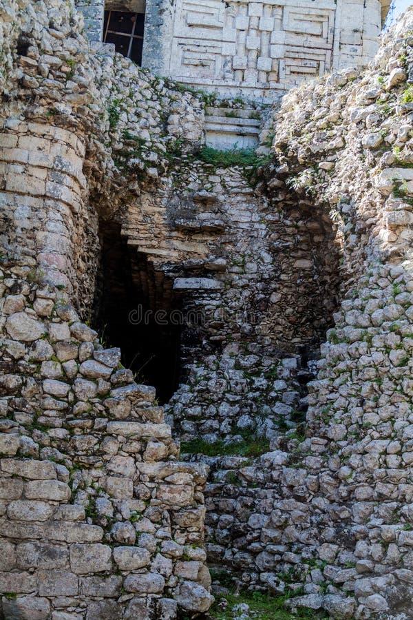 Ruins of the building called Nunnery Edificio de las Monjas in the ancient Mayan city Chichen Itza, Mexi royalty free stock photography