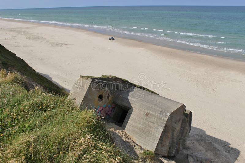 Ruins of a bunker in Denmark, on the beach between Lokken and Lonstrup. The bunker was part of the so called Atlantic Wall, built by the German Armed Forces stock images