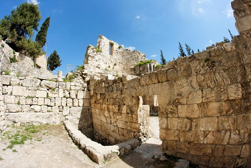 Ruins of Byzantine church in Jerusalem stock photo