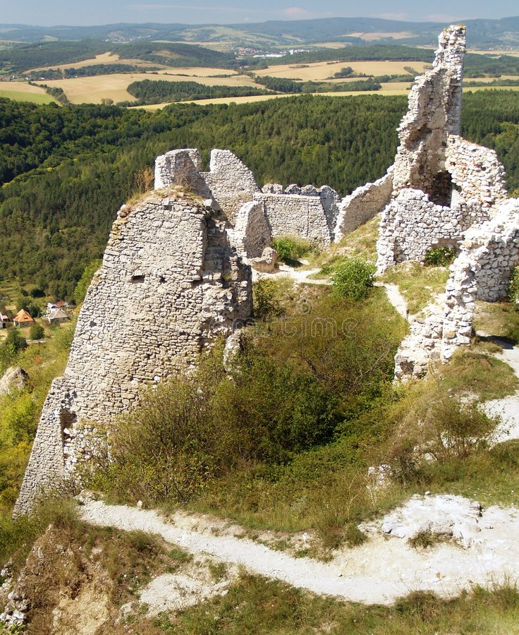 Ruins of Cachtice castle. Scenic view of ruins of Cachtice castle with forest in background, Trencin, Slovakia stock images