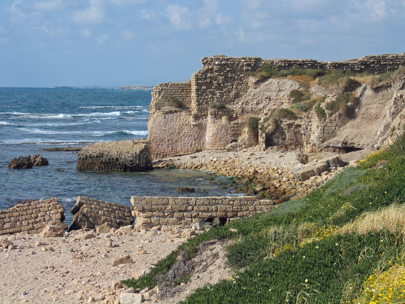 Ruins of Caesarea Israel. Ruins of the old city Caesarea in Israel stock photography